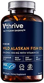 Premium Wild Alaskan Fish Oil with Vitamin D3 Supports Cardiovascular Health 1,375 DHA/EPA (120 Softgels)