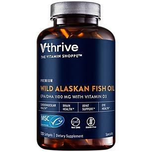 Premium Wild Alaskan Fish Oil with Vitamin D3 Supports Cardiovascular Health 1,375 DHA/EPA (120 Softgels)