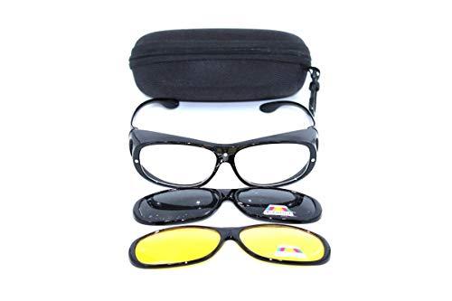 Clever & Chic Accessoires Nachtfahrbrille/Überbrille - magnetische Überziehbrille 2 in 1 schwarz für Brillenträger