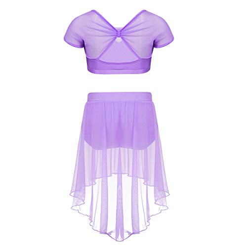 winying Girls Two Piece Dance Outfit Mesh Splice Crop Top with High Low Skirt Set Lavender 8