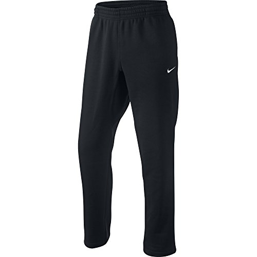 Nike Club Swoosh Men's Fleece Sweatpants Pants Classic Fit, Medium - Black/White