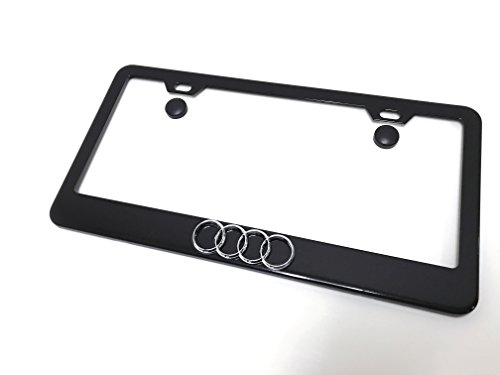 Deepro 1 3D 4 Ring Logo Black Powder Coated Metal License Plate Frame with Screw Caps Audi