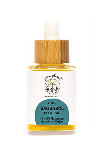 BIO Baobab Öl Kaltgepresst | Naturkosmetik für Gesicht & Körper | Reichhaltige Pflege für sehr trockene, reife & gestresste Haut | 100% Natürlich & Vegan | 30ml | green planet COSMETICS