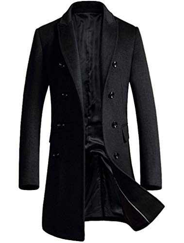 Lavnis Men's Woolen Pea Coat Slim Fit Double Breasted Winter Wool Trench Business Dowm Jacket Black 2XL