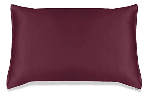 MYK Silk Pure Natural Mulberry Silk Pillowcase, 19 Momme with Cotton Underside for Hair & Skin, Oeko-TEX Certified, Hypoallergenic, Curly Friendly, Burgundy