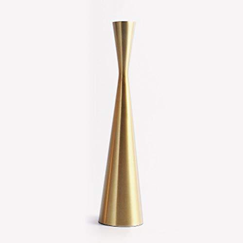 Dreafly Brass Gold Metal Taper Candlesticks Candleholder Vintage Modern Home Cabin Lodge Table Mantel Wedding Centerpiece Candle