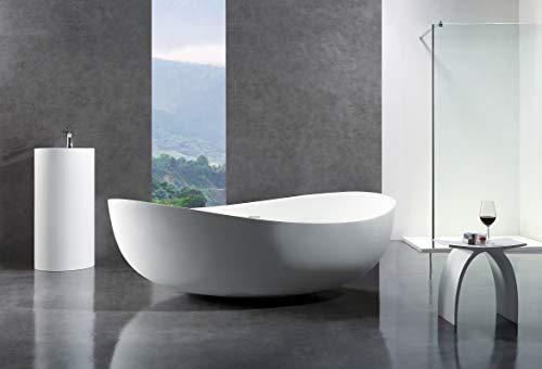Freistehende Badewanne aus Mineralguss WAVE STONE weiß - 180 x 110 cm - Wählbar in Matt oder Hochglanz, Ausführung:Matt