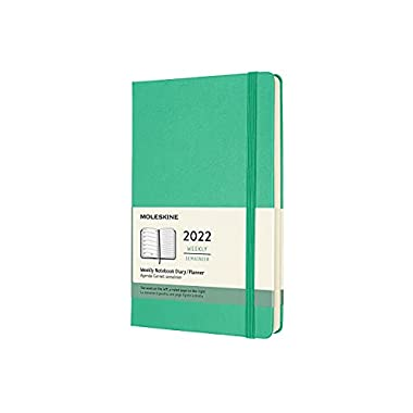 Moleskine 2022 Weekly Planner, 12m, Large, Ice Green, Hard Cover (5 X 8.25)