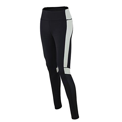 Airtracks RED DECOCT Sport Pantalon de fitness pour femme Pantalon de course / Pantalon fonctionnel / Pantalon d'entraînement / Yoga / Taille haute / Réflecteurs / Noir/Gris - XS