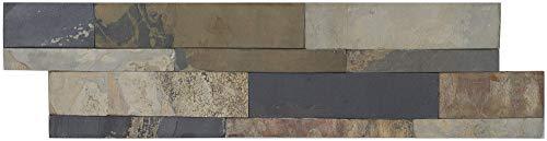 Brickstones, Wandverblender, Mauerverblender Naturstein 15x60 cm, Schiefer schwarz braun mix, 1 Kart. = 0,50 qm, MOES542