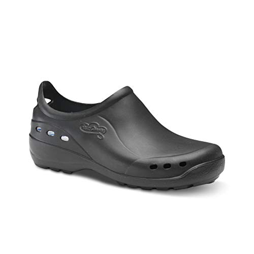 Feliz Caminar - Zapato Sanitario Flotantes Shoes Negro, 43 | Zueco Cerrado Unisex Antideslizantes y Cómodos para Hombre y Mujer | para Trabajo en Industria, Sanidad, Hostelería, Clínicas