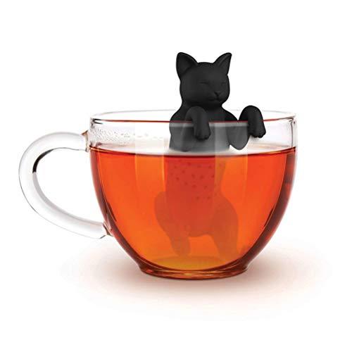 Ourine Haustier-Katzen-Tee-Ei, Haustier-Katzen-Tee-Ei Nahrungsmittelgrad-Silikonkautschuk Purrtea Tierhundeteefilter-Teesieb-Schwarzes