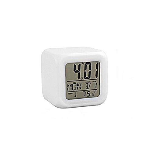 BNMMJ Digitale Elektronische Led Mode Klok Wekker Thermometer 7 Kleuren Klok Nachtlampje Kinderen Wekker