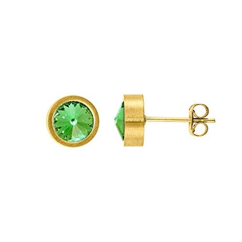 Heideman Ohrringe Damen Coma aus Edelstahl gold farbend matt Ohrstecker für Frauen mit Swarovski Stein Kristall peridot grün im Fantasie Edelsteinschliff 6mm