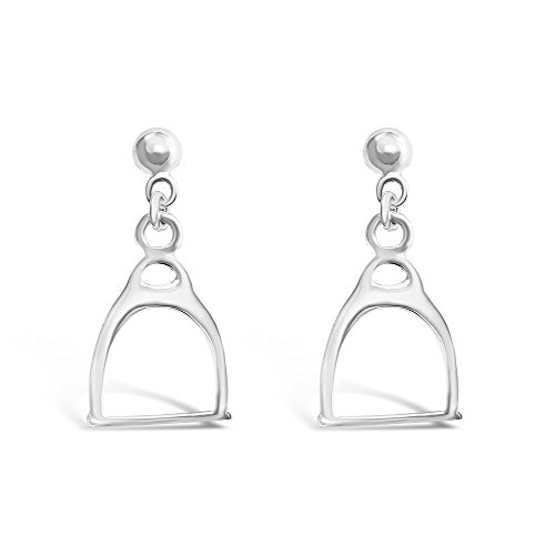 925 Solid Sterling Silver Dangling Horse Stirrup Stud Earrings - Dangle Hypoallergenic Animal Jewelry