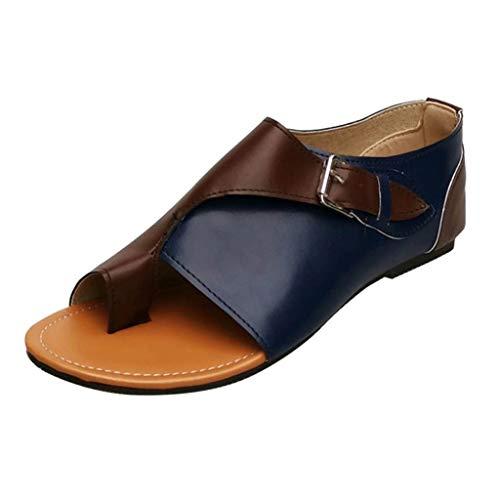 iYmitz Damen Flache Sandalen Komfortable Freizeit im Schnallenriemen im Römischen Stil Flache Frauen Sommer Sandaletten mit Schnalle(Blau,EU/35)