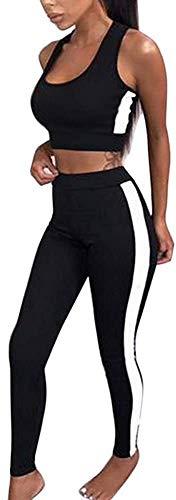 Yesgirl Traje De Entrenamiento para Mujer 2 Piezas Rayas Conjunto De Atuendo Deportivo para Yoga Fitness Ajustado Chándal Ropa Casual Camiseta De Tirantes Leggings Negro 36