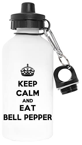 Keep Calm And Eat Bell Pepper Libre de Contaminantes Blanco Botella De Agua Aluminio Para Exteriores Pollutant Free White Water Bottle Aluminium For Outdoors