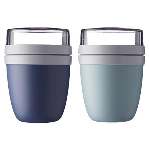 Mepal 107648016800+107648092400 Ellipse Lunchpot to go 500 ml & 200 ml, grün/blau, 2-teilig (1 Set)