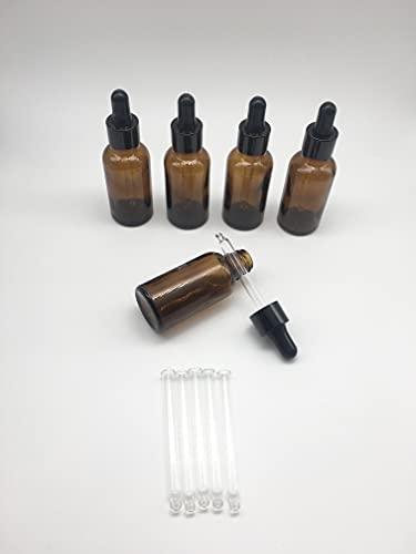 Nalunox- Frasco Cuentagotas Ambar de Cristal Capacidad 30ml- Botella cuenta gotas con Pipeta de Cristal -5 unidades- Recipiente de Vidrio