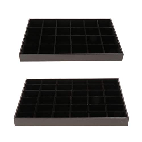 2 Pack 36/24 Grids Velvet Jewelry Bracelet Bangle Display Tray Storage Case Box, Black