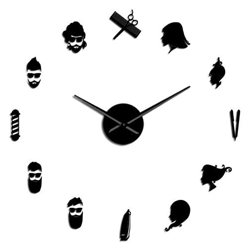 Wall Clock Barber Shop 3D DIY Mute Wall Clock Wall Art Decor Giant Frameless Clock Watch with Mirror Effect Sticker-47_Inch
