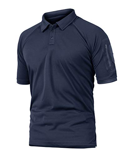 KEFITEVD Wandershirt Herren Kurzarm Schnelltrocknend Outdoorshirt mit Kragen Poloshirt Männer Funktionsshirt Training Radfahren Sommer T-Shirt Dunkelblau 2XL