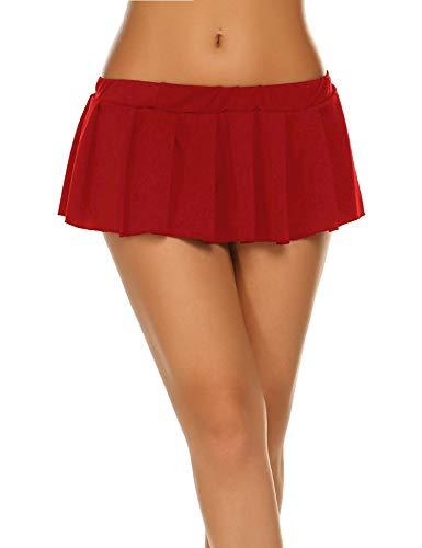 Damen Kurzer Rock Minirock Sexy Falten Röcke Einfarbig Rot Mini Rock Schulmächen Skirt Rock Anime Reizvolle Faltenrock Cosplay Rock Gogo Rock Rot_M