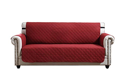 Argstar Reversible Large Sofa Slipover Couch Cover Furniture Protector Red/Tan (3-4 Seater)