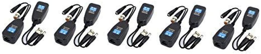 HD-CVI/TVI/AHD Vídeo Balun con conector de alimentación y datos RJ45CAT5, transmisor pasivo de corriente, vídeo y datos (Audio), 5pares (10 unidades)