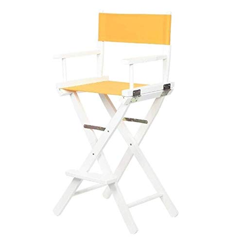 ZCL Folding Chairs for Outide Lightweight Folding Stool Portable Wooden Canvas Chair, 30-inch Simple Bar Chair High Chair Folding Stool Dining Chair Armchair Folding Chair Covers (Color : Yellow)