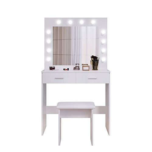 J - Conjunto de tocador con mesa y espejo con luces para maq