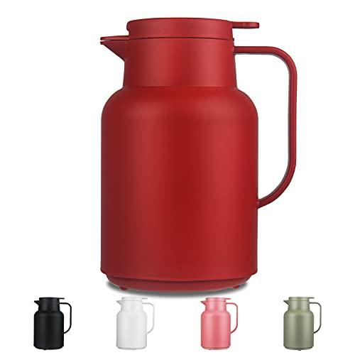 SHBRIFA Isolierkanne 1,5 Liter, Thermoskanne mit doppelwandigem Borosilikatglas Kolben, Ideal als Kaffeekanne oder als Teekanne, für zu Hause oder im Büro