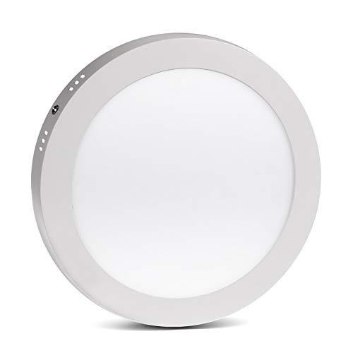 LED4U LD155N LED Panel Deckenlampe Slim Design Leuchte Beleuchtung LED Panellampe Wohnzimmerlampe Innenleuchte (Naturweiß, Rund 18W)