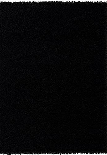 Alfombra Shaggy de pelo largo, color negro, tamaño 80 x 150 cm