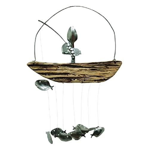 Fishing Man Wind Chime Spoon Fish Sculptures Windchime Indoor Outdoor Home Garden Decor Hanging Ornament Gifts Eid Mubarak Coffee Flower Spray Stencils