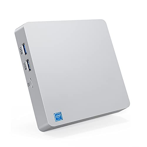 Mini PC,Intel Atom x5-Z8350 Fanless Windows 10 Pro(64 bit) 4GB DDR/64GB EMMC Desktop Computer,supporto 2,5'mSATA SSD/Dual Band WiFi/BT 4.2/4K/HDMI + VGA outputs/1000Mbps LAN