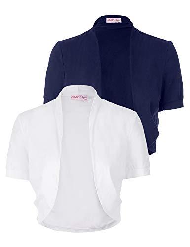 Womens Versatile Open Front Lightweight Short Sleeve Bolero Shrug Cropped Cardigan (White&Navy Blue, XXXL)