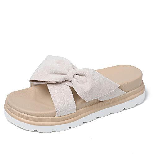 Anlemi Sandalias de Verano Confort Ideal,Zapatillas de Plataforma de bizcocho con Chanclas de Lazo-Beige_38,Zapatillas de casa con Punta Abierta
