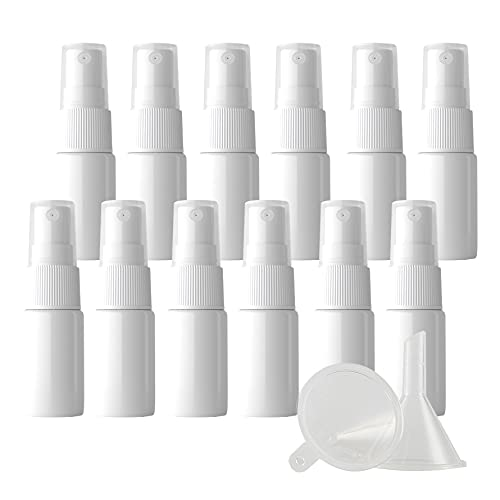 ZEOABSY 24Piezas 10ml Botella de Spray Vacía Plástico Blanco Atomizador de ViajeConjunto de Botellas, con Pulverizador de Niebla Fina Blanco para Perfume Agua 3 Embudos