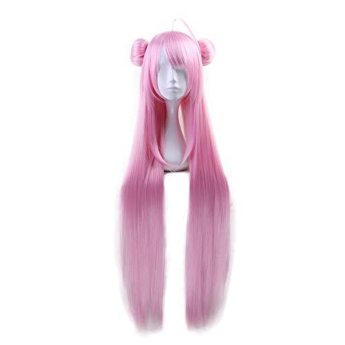 Anime Happy Sugar Life Matsuzaka Satou peluca larga y recta rosa con bollo Cosplay disfraz mujer pelo resistente al calor Cosplay pelucas