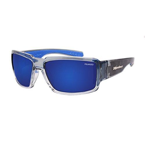 Bomber Sunglasses Boogie Bomb 2 Tone Smoke Frm/Blue Mirror Polarized Saftey Lens/Gray Foam