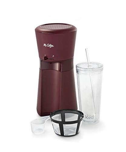 Exclusive Coffee - Burgundy Iced Coffee Maker with Reusable Tumbler and Coffee Filter