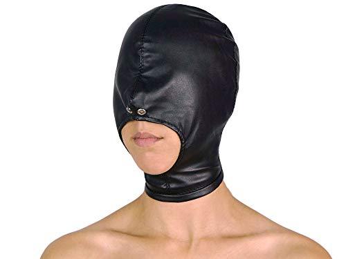 Isolationsmaske Maske mit offenem Mund eng anliegende Maske ohne Augenlöcher Ledermaske Leder Maske (Schwarz)
