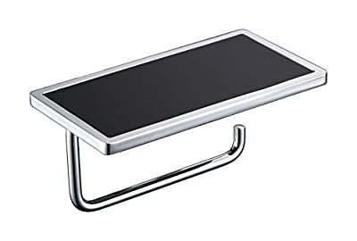 Toilet Paper Holder with Phone Shelf Chrome Plated,Bathroom Accessories SUS 304 Stainless Steel Tissue Roll Dispenser Storage Hand Wipes Holder Wall Mounted Bathroom Essential Hand Towel Holder