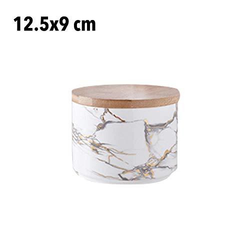 QUUY voorraadpotten van keramische voor levensmiddelen met houten zegeldeksel en marmeren patroon, elegante luxe voorraadpot voor noten, snoep, koekjes, koffiebonen, chocolade Small wit