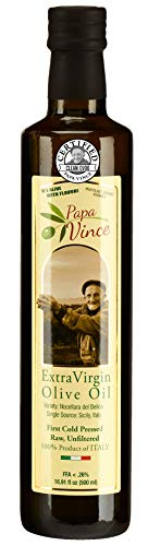 Papa Vince Olive Oil Extra Virgin First Cold Pressed Family Harvest 2019/20 made in Sicily, Italy. NO PESTICIDES NO GMO, Keto Whole30 Paleo Unrefined Good Fat High Polyphenol, Subtle Peppery Finish