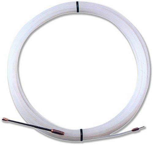 Electraline 21382018I, Guía pasahílos Nailon, 25 M, Diámetro 3 mm, Color Blanco
