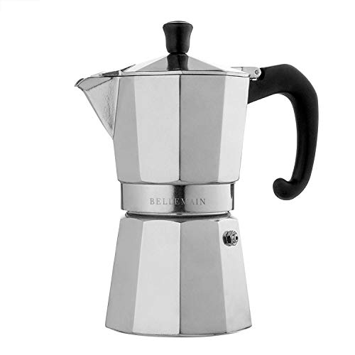 Bellemain Stovetop Espresso Maker Moka Pot (Silver, 6 Cup)