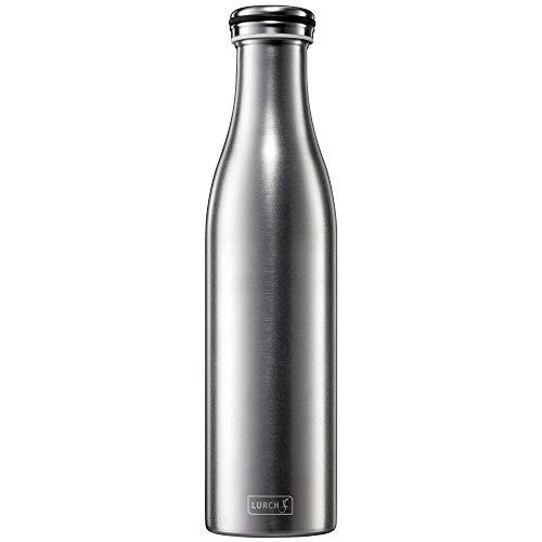 Lurch 240964 Isolierflasche/Thermoflasche für heiße und kalte Getränke aus doppelwandigem, gesandstrahltem Edelstahl 0,75l